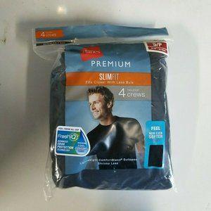 Hanes Men's Premium 4pk Crew Neck T-Shirt Black S